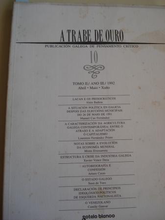 A TRABE DE OURO. PUBLICACIÓN GALEGA DE PENSAMENTO CRÍTICO. Número 10, Abril-Maio-Xuño, 1992