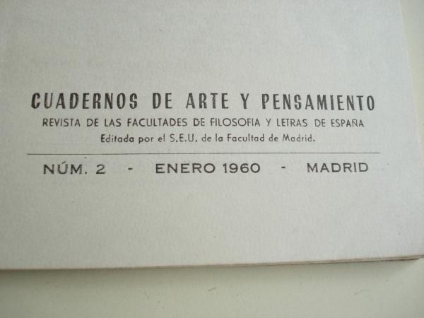 Cuadernos de Arte y Pensamiento. Revista de las facultades de Filosofía y Letras de España. Número 2. Enero 1960. Editado por el S.E.U de la Facultad de Madrid