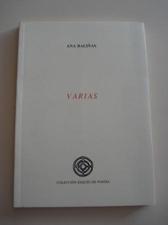 Varias (Accésit XIV Premio Esquío de Poesía)