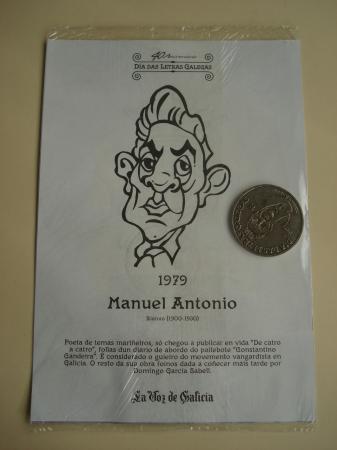 Manuel Antonio / Afonso X O Sabio. Medalla conmemorativa 40 aniversario Día das Letras Galegas. Colección Medallas Galicia ao pé da letra