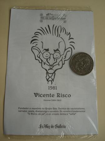 Vicente Risco / Luis Amado Carballo. Medalla conmemorativa 40 aniversario Día das Letras Galegas. Colección Medallas Galicia ao pé da letra