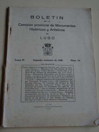 Boletín de la Comisión provincial de Monumentos Históricos y Artísticos de Lugo. Número 34. Segundo semestre de 1950