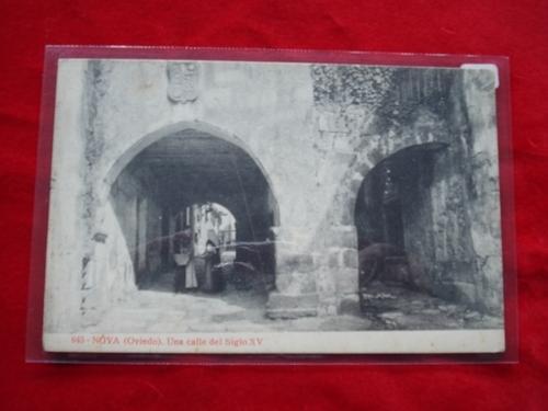Tarxeta postal: Noia (Noya)- Unha rúa do século XV. 1920