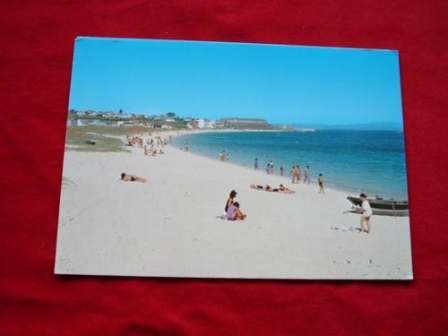 Tarxeta postal: Aguiño (Ribeira- A Coruña). Praia da Catia. Anos 70
