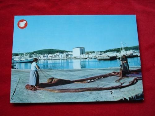 Tarxeta postal: Ribeira (A Coruña). Vista desde o Porto. Década 1970