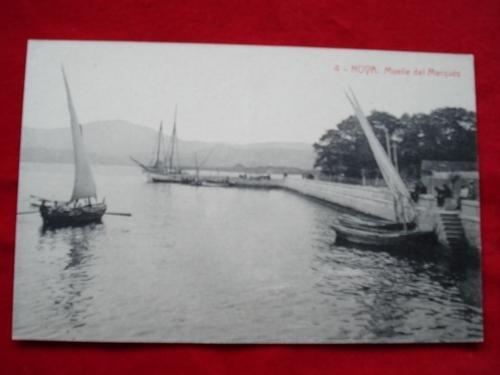 Tarxeta postal: Noia (Noya)- Vista parcial. Peirao do Marqués - Muelle del Marqués.  1920