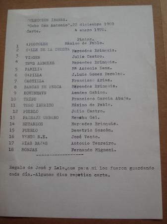 18 cartas y menú de restaurante ilustradas por 18 pintores. Colección Ybarra, Sevilla