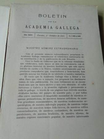 BOLETÍN DE LA ACADEMIA GALLEGA. Tomo XX. 1931 (Números 235 a 240). Intonso