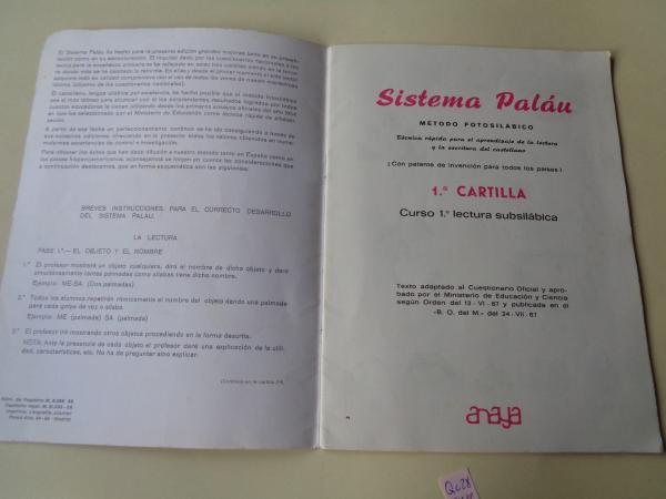 Método fotosilábico PALÁU. 1ª cartilla. Curso 1º lectura subsilábica