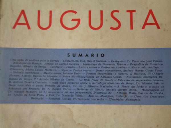 BRACARA AUGUSTA. Revista Cultural da Câmara Municipal de Braga. Agosto 1953. (Vol. IV - Nº 4 (25))