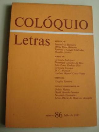 COLÓQUIO / LETRAS. Revista bimestral. Número 86, Julho de 1985. Homenaxe a Rosalía de Castro no Centenario da súa morte. Textos en portugués - Ver os detalles do produto