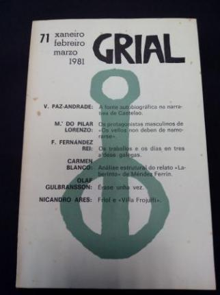 GRIAL. Revista Galega de Cultura. Número 71. Xaneiro, febreiro, marzo 1981 - Ver os detalles do produto
