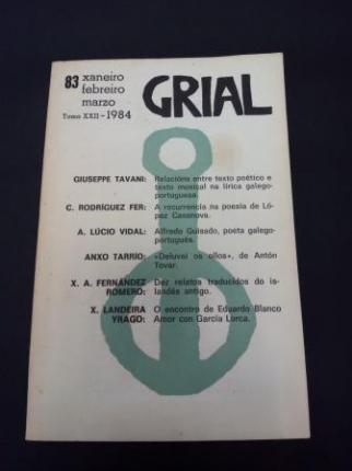 GRIAL. Revista Galega de Cultura. Número 83. Xaneiro, febreiro, marzo 1984. Tomo XXII - Ver os detalles do produto