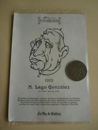 M. Lago González / Xoán Vicente Viqueira. Medalla conmemorativa 40 aniversario Día das Letras Galegas. Colección Medallas Galicia ao pé da letra - Ver os detalles do produto