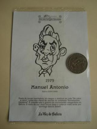 Manuel Antonio / Afonso X O Sabio. Medalla conmemorativa 40 aniversario Día das Letras Galegas. Colección Medallas Galicia ao pé da letra - Ver os detalles do produto