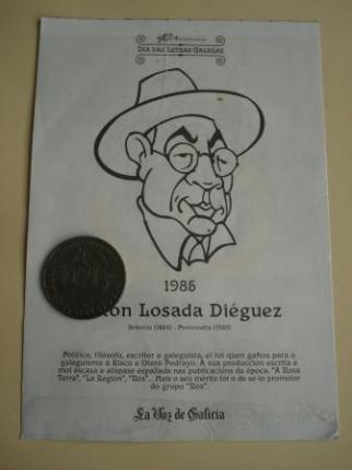 Antón Losada Diéguez / A. Iglesia Alvariño. Medalla conmemorativa 40 aniversario Día das Letras Galegas. Colección Medallas Galicia ao pé da letra - Ver os detalles do produto