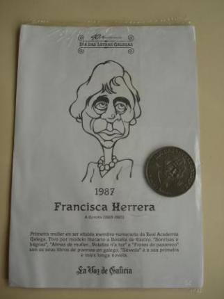 Francisca Herrera / R. Otero Pedrayo. Medalla conmemorativa 40 aniversario Día das Letras Galegas. Colección Medallas Galicia ao pé da letra - Ver os detalles do produto