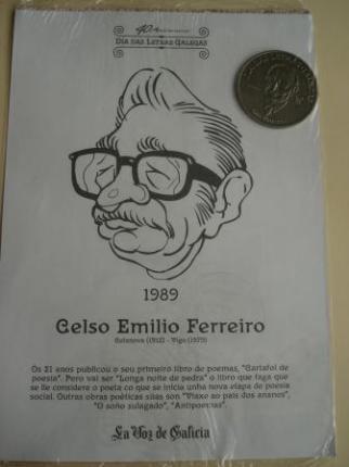 Celso Emilio Ferreiro / Luis Pimentel. Medalla conmemorativa 40 aniversario Día das Letras Galegas. Colección Medallas Galicia ao pé da letra - Ver os detalles do produto