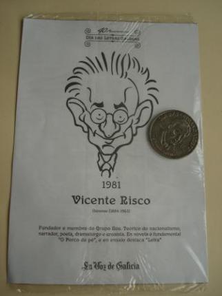 Vicente Risco / Luis Amado Carballo. Medalla conmemorativa 40 aniversario Día das Letras Galegas. Colección Medallas Galicia ao pé da letra - Ver os detalles do produto