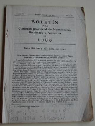 Boletín de la Comisión provincial de Monumentos Históricos y Artísticos de Lugo. Número 35. Primer semestre de 1951 - Ver os detalles do produto
