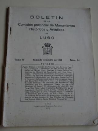 Boletín de la Comisión provincial de Monumentos Históricos y Artísticos de Lugo. Número 34. Segundo semestre de 1950  - Ver os detalles do produto