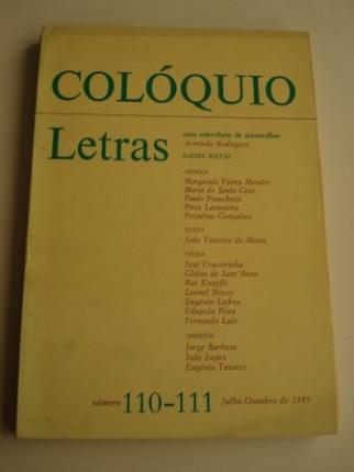COLÓQUIO LETRAS. Revista bimestral. Número 110 - 111. Julho-Outubro 1989 - Ver os detalles do produto