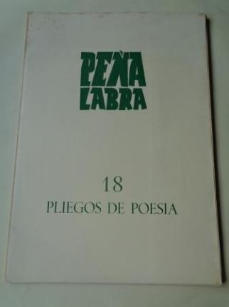 PEÑA LABRA. Pliegos de poesía, nº 18. Invierno 1975-76. Carpeta con 5 cuadernos en pliegos - Ver os detalles do produto