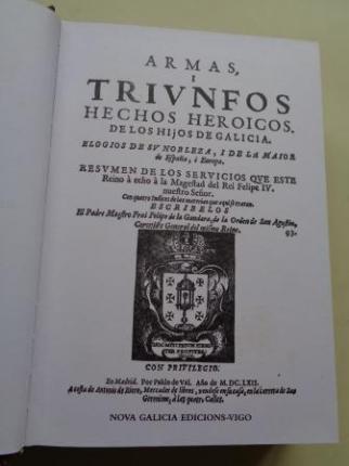 Armas y triunfos de los hijos de Galicia. 2 tomos (Edición facsímil) - Ver os detalles do produto
