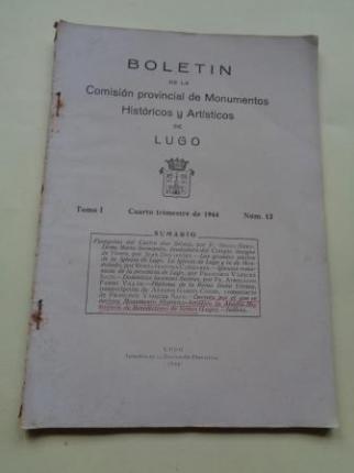 Boletín de la Comisión Provincial de Monumentos Históricos y Artísticos de Lugo. Número 12, Cuarto trimestre de 1944 (Con índices del Tomo I) - Ver os detalles do produto