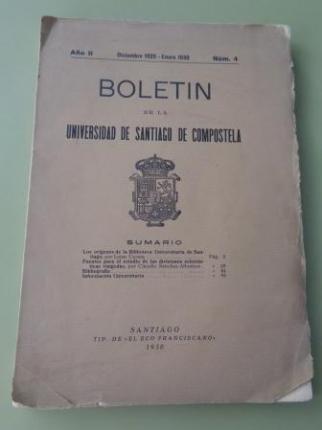 Boletín de la Universidad de Santiago de Compostela. Año II. Diciembre 1929 - Enero 1930. Número 4 - Ver os detalles do produto