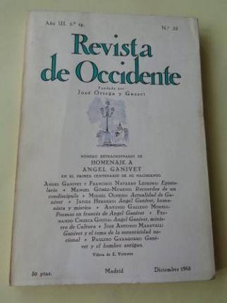 REVISTA DE OCCIDENTE. Año III, 2ª ép. Núm. 33. Diciembre 1965 - Ver os detalles do produto