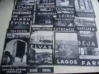 Lote de 24 folletos turísticos con ilustracións e fotografías en branco e negro de 24 cidades e vilas de Portugal (1948) - Ver os detalles do produto